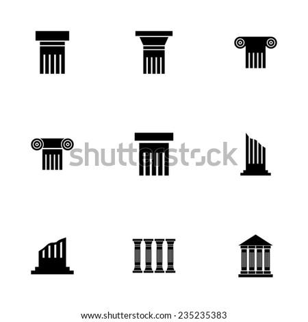 Vector black column icon set on white background - stock vector