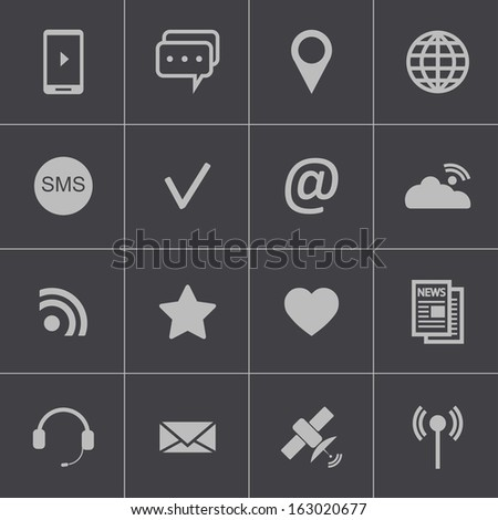 Vector black  communication icons set - stock vector