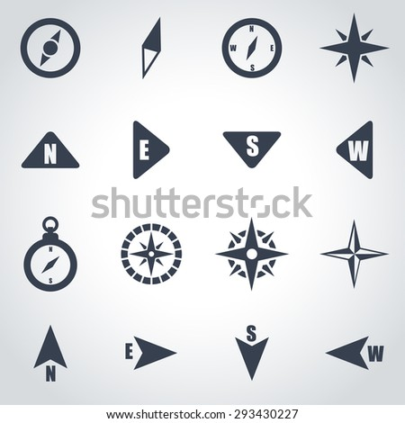 Vector black compass icon set. Compass Icon Object, Compass Icon Picture, Compass Icon Image, Compass Icon Graphic, Compass Icon JPG, Compass Icon EPS, Compass Icon AI - stock vector - stock vector