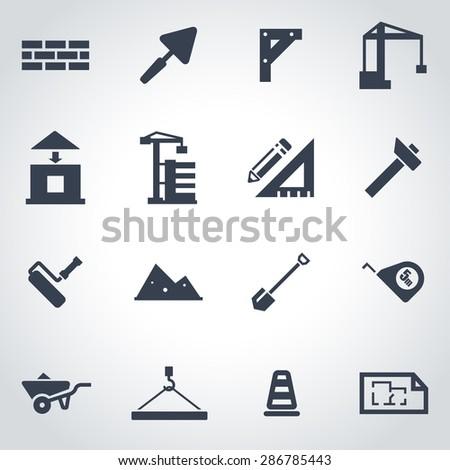 Vector black construction icon set. Construction Icon Object, Construction Icon Picture, Construction Icon Image, Construction Icon Graphic - stock vector - stock vector