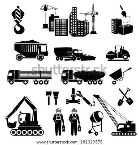 vector black construction icons set. icons construction equipment: crane, scoop, mixer, scraper - stock vector