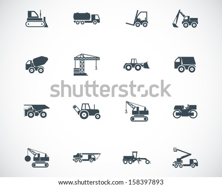 Vector black construction transport icons set - stock vector