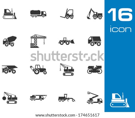 Vector black construction transport icons set white background - stock vector