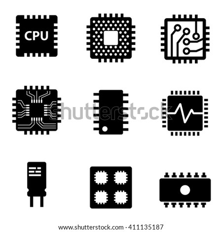 Vector black CPU microprocessor and chips icons set. Electronic chip icons on white background - stock vector