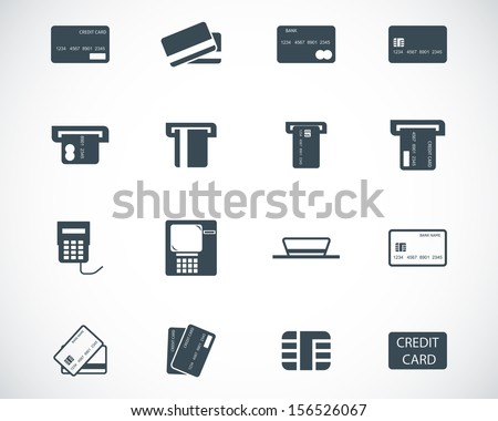Vector black  credit cart  icons set - stock vector