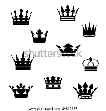 Vector black crowns - stock vector
