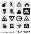 vector black danger icons set on gray - stock vector