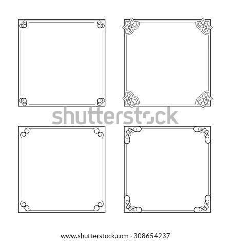 Vector black decorative frames, simple ornamental border - stock vector