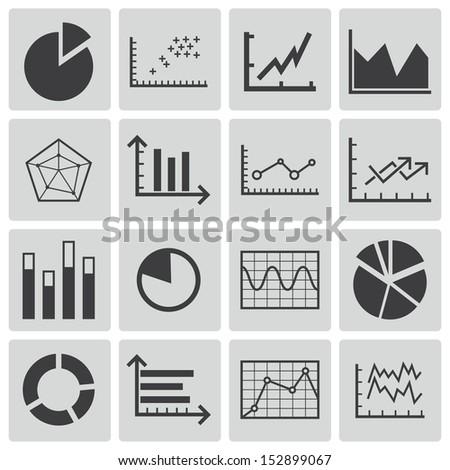 Vector black  diagram icons set - stock vector