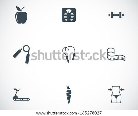 Vector black diet icons set - stock vector