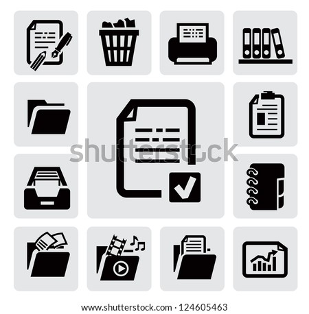 vector black document icons set on gray - stock vector