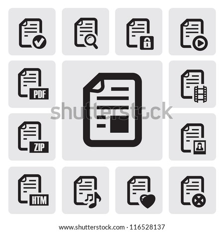 vector black documents icons set on gray - stock vector