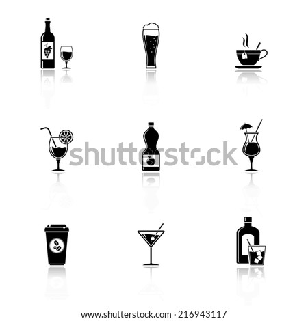 Vector black drinks & beverages icons - stock vector