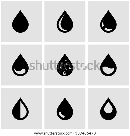 Vector black drop icon set. Drop Icon Object, Drop Icon Picture, Drop Icon Image - stock vector - stock vector