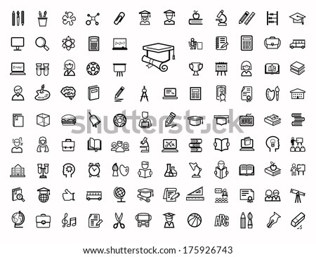 vector black education icons set - stock vector