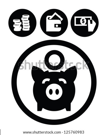 vector black education icons set on white - stock vector