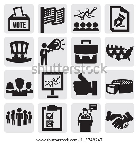 vector black election icons set on gray - stock vector