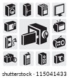 vector black electronic devices icons set on gray - stock vector