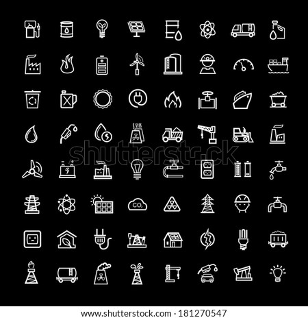 vector black energy icons set - stock vector