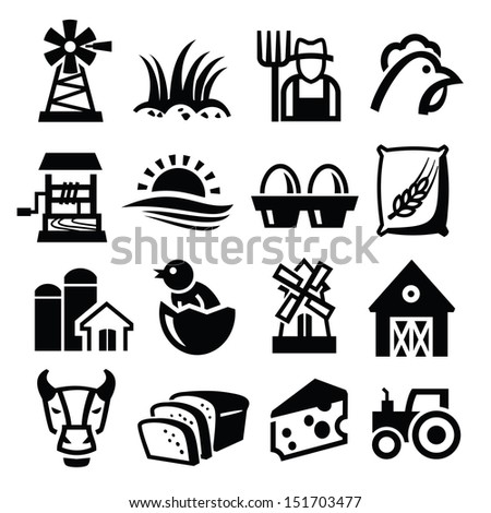 vector black farm icon set on white - stock vector