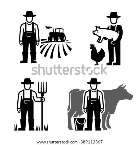 vector black farmer icon on white background - stock vector