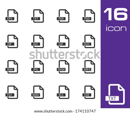 Vector black file format icons set on white background - stock vector