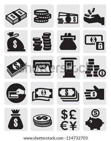 vector black finance icons set on gray - stock vector