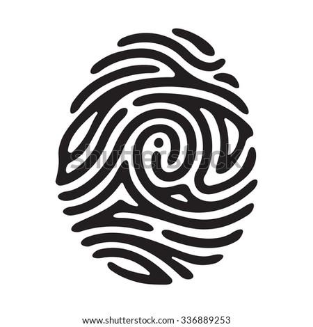 "Vector black finger print with ""i"" letter. Black fingerprint. Fingerprint shape. Fingerprint secure. Fingerprint identification. ID fingerprint. Push fingerprint for unlock. Fingerprint pressure. - stock vector"