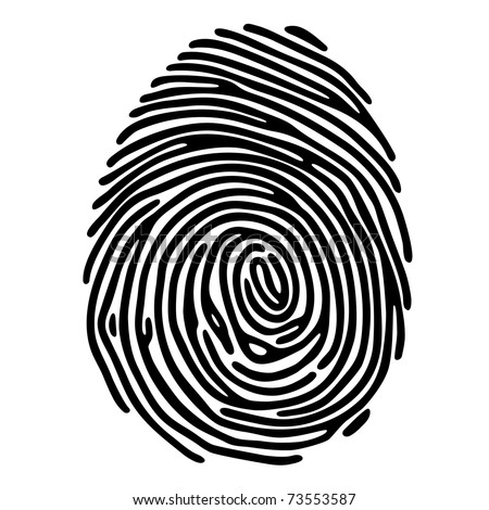 Vector black fingerprint isolated on white background - stock vector