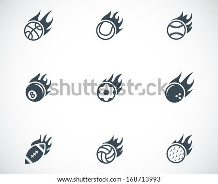 Vector black fire sport balls icons set on white background - stock vector