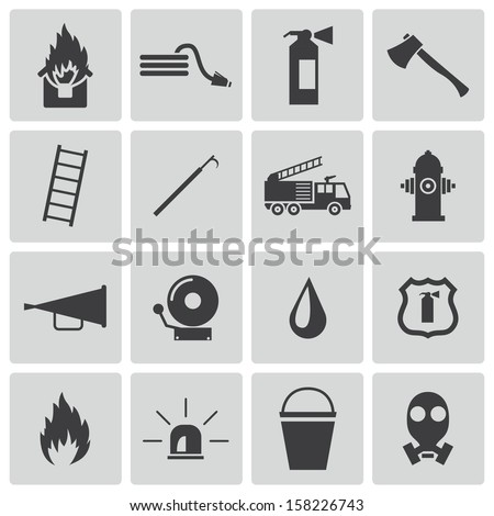 Vector black  firefighter icons set - stock vector