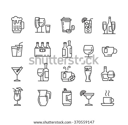 vector black flat beverages icons on white - stock vector