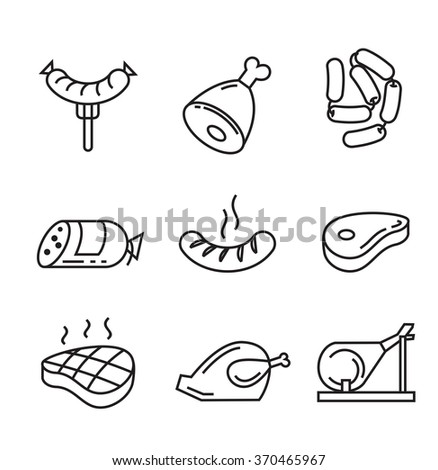 vector black flat food icons on white - stock vector