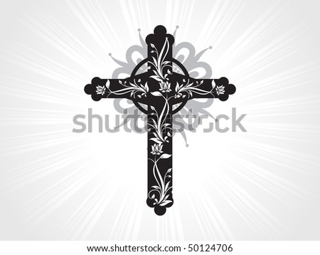 vector black floral pattern cross with grey background - stock vector