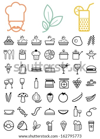 Vector black food and drinks icons set  - stock vector