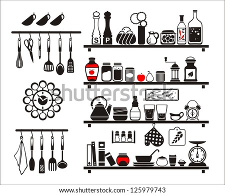 Vector black food and drinks icons set, drawn up as kitchen shelves - stock vector