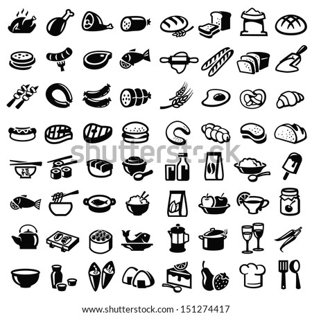 vector black food icon set on white - stock vector