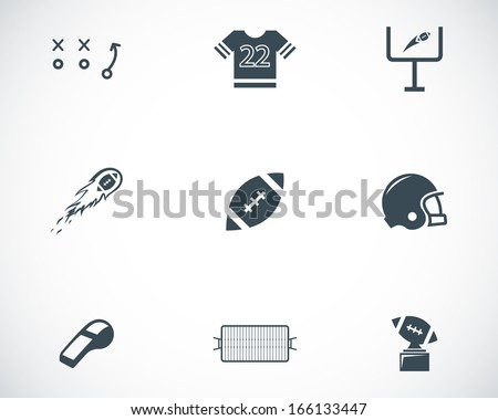 Vector black football icons set - stock vector
