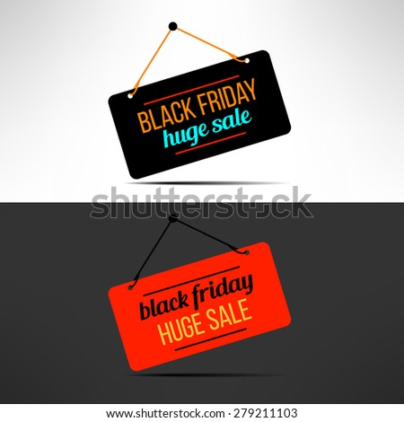 Vector black friday sale promotional banner. Retail discount message. - stock vector