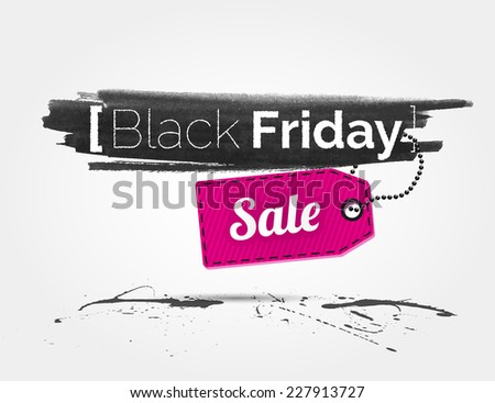 vector Black Friday watercolor banner with splashes of ink and shoppping tag - stock vector