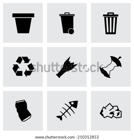 Vector black garbage icons set on grey background - stock vector