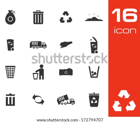Vector black garbage icons set on white background - stock vector