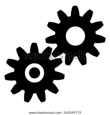 vector black gears icon on white background. eps 10. - stock vector