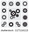 vector black gearwheel mechanism icon set on gray - stock vector
