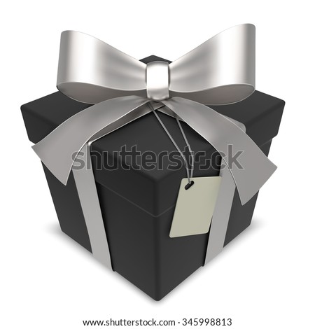 Vector Black Gift Box. Matte Black Gift Box with Silver Ribbons. Blank Label for Copy Space. - stock vector