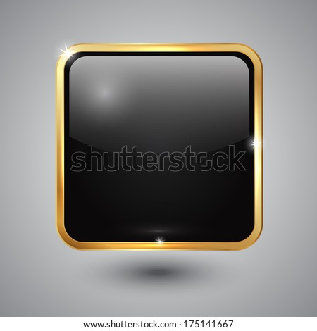 Vector black glass square button with round corners and golden frame - stock vector