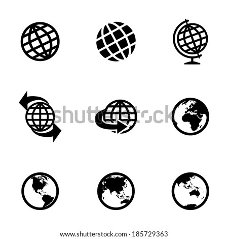 Vector black globe icons set on white background - stock vector
