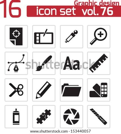 Vector black  graphic design  icons set - stock vector