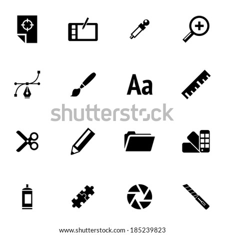 Vector black  graphic design  icons set on white background - stock vector