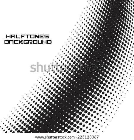 Vector Black Halftone Dots Isolated on White Background . Unusual Dotted Form for your Design . - stock vector